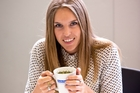 Morgan Tait samples one of the detox teas promoted in the diet. Photo / Dean Purcell