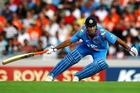 MS Dhoni of India in action during the tied ODI between New Zealand and India at Eden Park. Photo / Getty Images