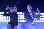 Beyonce and Jay-Z perform at the 56th annual Grammy Awards. Photo/AP
