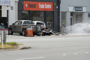 The scene of the gas bottle explosion in Invercargill. Photo / Bryce Marshall