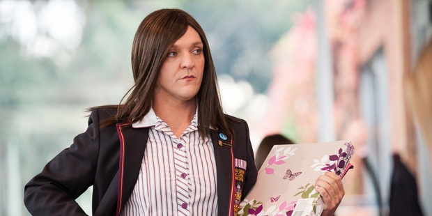 Chris Lilley in Ja'ime Private Schoolgirl. Photo / Comedy Central