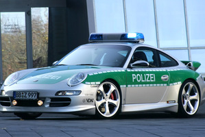 European Police, like the German Polizei who use this tuned Porsche 911, may have an easier time nabbing speeders with the possible introduction of universal stopping devices.
