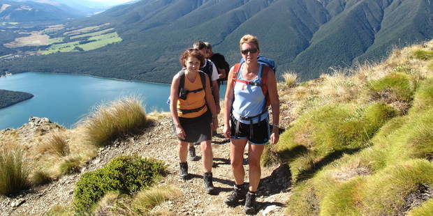 The zig-zag climb to Robert Ridge above Lake Rotoiti offers panoramic views in Nelson Lakes National Park. Photo / Geoff Cumming