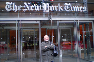 The writer outside The New York Times office. Photo / Wynne Gray
