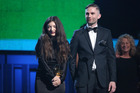 Lorde, left, and Joel Little accept the Grammy for Song of the Year. Photo / AP