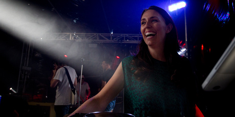 DJ and member of Parliament Jacinda Ardern on stage in the Red Bull Thunderdome. Photo / Sarah Ivey