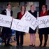 Vicky Westhead, Patricia Colle, Olivia Brooks and Rebecca Rose with signs for Lorde. Photo / Sarah Ivey