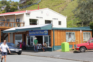 Fish and chips at Kawhia. Photo / Philippe Dierick