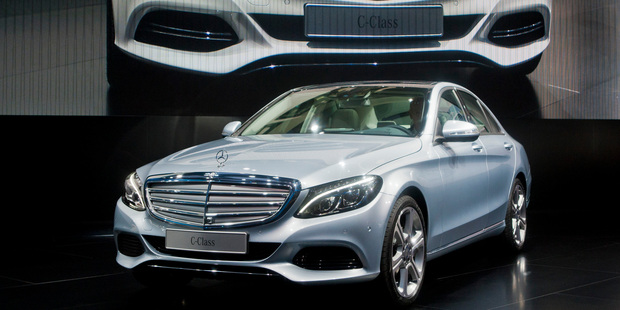 The C-Class, shown here at the Detroit motor show, takes many of its cues from its big brother S-Class.