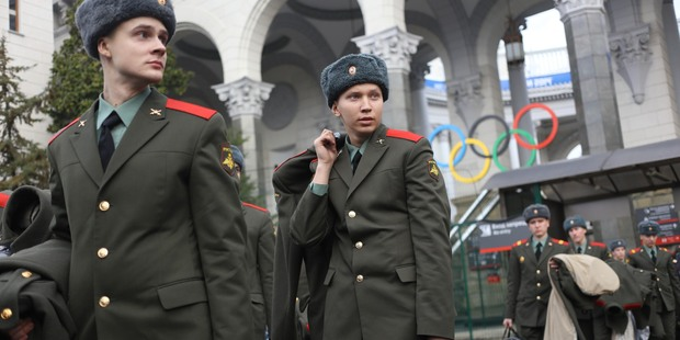 Russian Army soldiers wait for transportation at Sochi airport, Russia. The city's mayor has spoken out about gays and whether they are welcome at the Games. Photo / AP