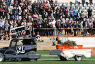 Samantha Body-Mouat's coffin is towed around the track at Baypark Speedway in 2010. Photo / Joel Ford