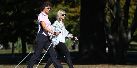 Rachel Grunwell doing some Nordic walking at Cornwall Park. Photo / Getty Images