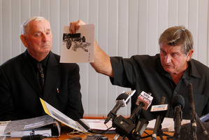 Arthur Thomas (left), and his brother Des, who shows evidence he claims was manufactured in the Crewe murder investigation. Photo / Christine Cornege