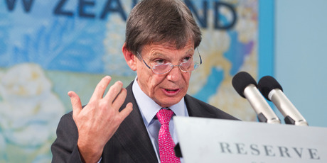 Reserve Bank Governor Graeme Wheeler announcing his monetary policy statement in Wellington. Photo by Mark MItchell.