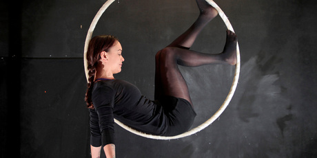 Aroha Wikohika in her aerial hoop studio. Photo / Michael Craig