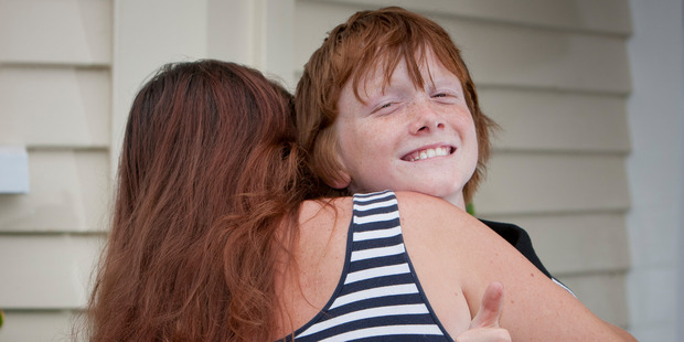 Ten-year-old Bailey Langley, from Hastings, pictured at home in Akina with his mother Renee O'Keefe, after a search party of strangers banded together to find him. Photo/Glenn Taylor
