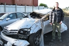 Former policeman Simon Cathcart suffered a cracked spine in the crash that wrecked his car.