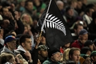 The silver fern on a black background was our dominant emblem during the 2011 Rugby World Cup but its value beyond sport is debatable. Photo/ APN