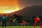Cameron White hits a boundary during game one of the International Twenty20 series between Australia and England at Blundstone Arena. Photo / Getty Images
