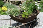 If you're lucky enough to come across a derelict metal wheelbarrow, drag it home and give it a new lease of life with herbs and plants. If it still has a wheel you can move it around to catch the sun.
