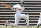 Bay of Plenty batsman Peter Drysdale plays a shot against Hamilton during a Hawke Cup match in Rotorua.Photo/Ben Fraser