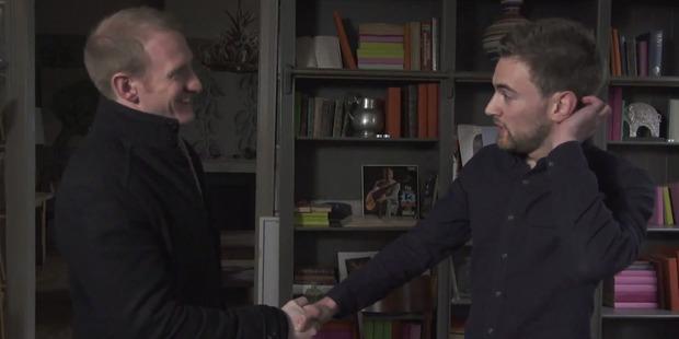 Jonny Benjamin, right, meets Neil Laybourn.
