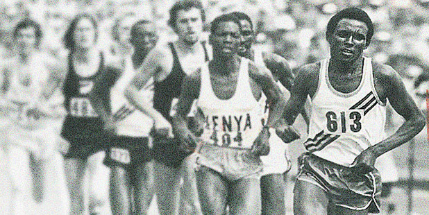 Filbert Bayi to a risk in lead from the front at the start of the 1974 Commonwealth Games 1500m race. Photo / Herald archives