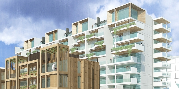 An artist's impression of Wynyard Quarter's apartments and townhouses which are yet to be built.