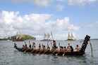 Local seafarers joined the overseas waka as they made their way  to Okahu Bay for a powhiri from Ngati Whatua, and then onto Wynyard Quarter.  Photo / Getty Images