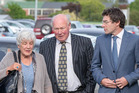 Former South Canterbury Finance director Edward Sullivan with members of his family. Photo / Martin Hunter