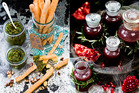 Pomegranate dressing; Fennel and paprika grissini with parsley and almond pesto; Pistachio fudge. Pictures / Babiche Martens.