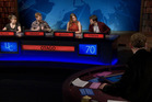 Otago University contestants in the Prime Television version of University Challenge, hosted by Tom Conroy. Photo / Prime