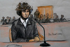 Courtroom sketch of Boston Marathon bombing suspect Dzhokhar Tsarnaev. Photo / AP