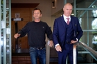 AC/DC drummer Phil Rudd leaving Tauranga District Court with his lawyer, Craig Tuck, on December 4. Photo / File