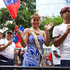 Miss Samoa supporting her team during the rugby sevens parade. Photo / Mark Mitchell
