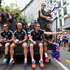 The All Blacks Sevens team including, sitting, from left, Gillies Kaka, DJ Forbes, Tim Mikkelson and Lote Raikabula. Photo / Mark Mitchell