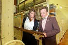 MTG Hawke's Bay director Douglas Lloyd Jenkins (right) and collection assistant Sarah Powell in the archives' store at the museum in Napier, a specific storage space with temperature and humidity control and other protection for irreplaceable publications, documents and photographs. Photo/Warren Buckland
