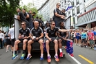 Clockwise from top: The All Blacks Sevens team including ,sitting from left, Gillies Kaka, DJ Forbes, Tim Mikkelson and Lote Raikabula. Photo / Mark Mitchell