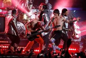 Flea's bass appears disconnected during the Red Hot Chili Peppers' performance at the Super Bowl. Photo / AP