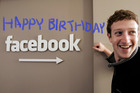 Artist's impression of Mark Zuckerberg celebrating Facebook's 10th birthday. Photo / AP and Microsoft Paint