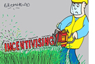 An AT spokesman said if AT mows berms too well, it won't 'incentivise' adjacent residents to mow the berms themselves. Cartoon / Peter Bromhead