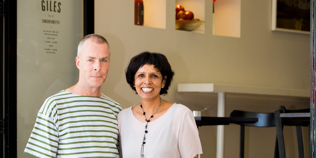 Peter Chichester and Rekha Dayal outside their new Shortland St eatery Giles Luncheonette. Photo / Babiche Martens