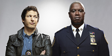 Andy Samberg and Andre Braugher in Brooklyn Nine-Nine.