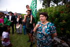 Greens co-leader Metiria Turei addresses deep sea oil protestors during the Waitangi celebrations. Photo / Dean Purcell