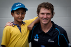 Blackcaps cricket player BJ Watling, right, and Cornwall Park District School student Shakeel Kanji. Photo / Sarah Ivey