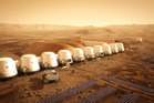 The proposed Mars One settlement, looking like a row of beach buckets, will have home comforts and interior food-growing areas.  Photo / Mars One