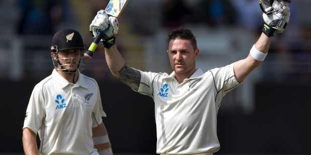 Brendon McCullum reached stumps unbeaten on 143, while Kane Williamson made 113 on the opening day of the first test. Photo / Brett Phibbs