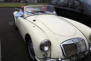 David Shearer, in the driving seat of a classic MG, with passenger Trevor Mallard who tweeted the picture.