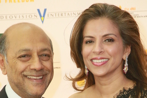 South African film producer Anant and wife Vanashree Singh at the Johannesburg premiere of Mandela Long Walk to Freedom.