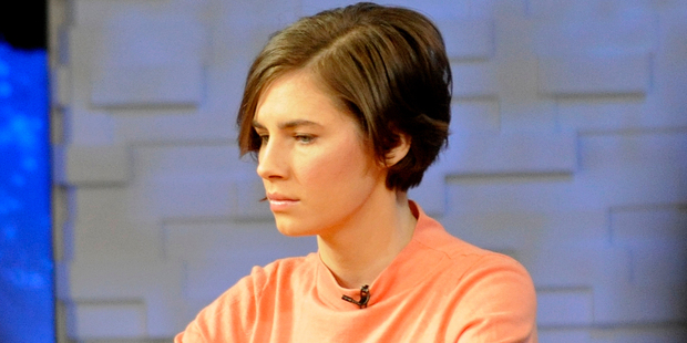 Amanda Knox sits on the set of ABC's 'Good Morning America' in New York. Photo / AP